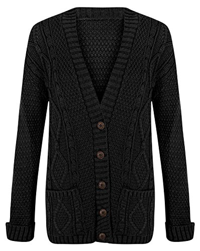 - WOMEN'S CHUNKY BOYFIEND KNITTED BUTTON CARDIGAN (XL=16/18, BLACK)