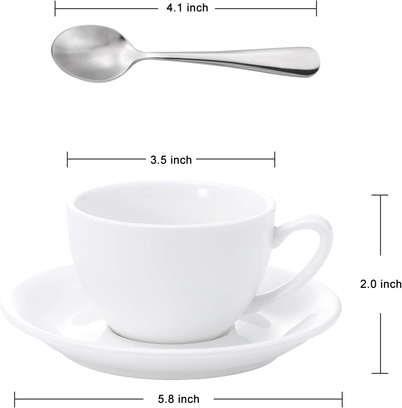 Details about  /Aozita Porcelain Cappuccino Cups And Saucers With Espresso Spoons 6 Ounce Espr