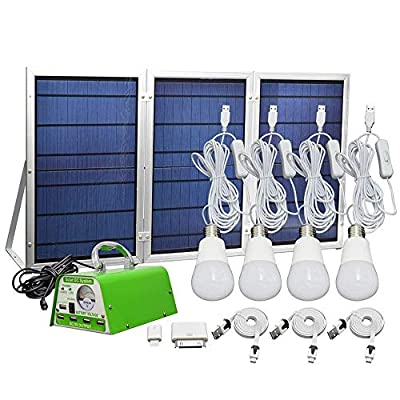 GVSHINE 20W Solar Panel 4 Pack LED Rechargeable Bulbs 500 Lumens Camping Lantern with Remote Control Digital Power Display Emergency Light for Hurricane Shed Playhouse with Phone Charger