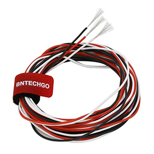 (BNTECHGO 22 Gauge Silicone Wire Ultra Flexible 10 ft Red 10 ft Black and 10 ft White High Resistant 200 deg C 600V 22 AWG Silicone Rubber Wire 60 Strands of Tinned Copper Wire Stranded Wire for Model)
