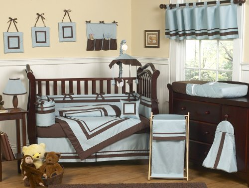 Sweet Jojo Designs Designer Blue and Brown Hotel Modern Baby