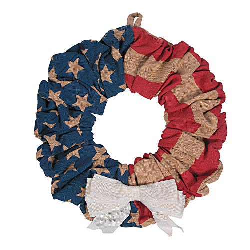 July 4th Wreaths (Fun Express Patriotic American Flag Burlap Wreath for Fourth of July (16 Inch)