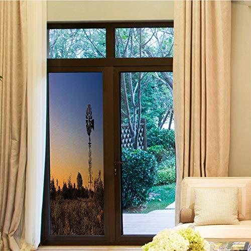 - YOLIYANA Environmental Protection Window Film,Windmill Decor,for Home Office School,Sunset in Kalahari Peaceful Outdoors Agriculture Rural Nature,24''x70''