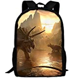 CY-STORE Brachiosaurus Triceratops Animal Dinosaur Outdoor Shoulders Bag Fabric Backpack Multipurpose Daypacks For Adult