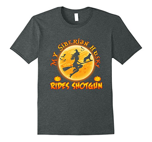 Siberian Husky Costume Ideas (Mens My Siberian Husky Rides Shotgun Halloween Gift T-Shirt Small Dark Heather)