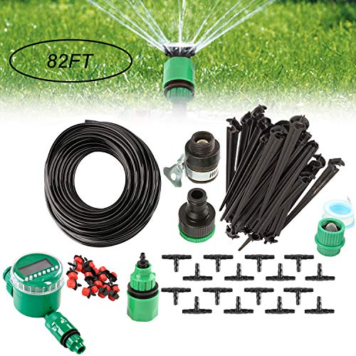 - Golden^Li Micro Drip Irrigation Kits, 82ft Plant Self Watering System Adjustable Timer Water-Saving Irrigation Set Fitting with Atomizing Dripper for Garden Greenhouse, Pot Plants, Patio and Lawn