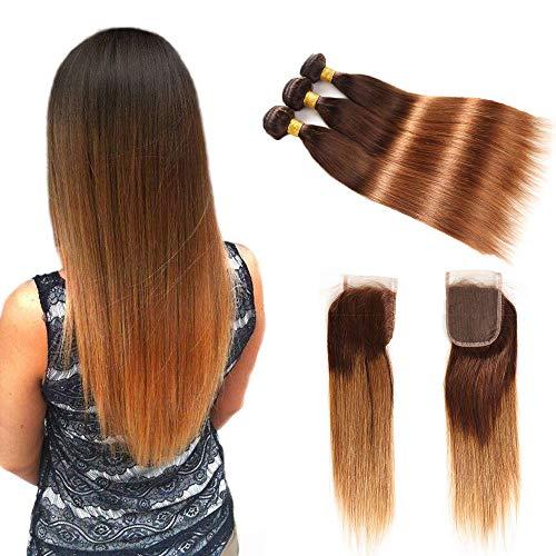 Ombre Brazilian Virgin Hair Straight Hair Bundles with Closure (14