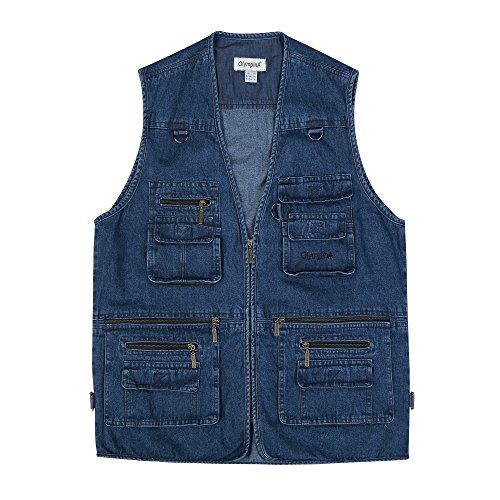Sempurna Men's Denim Outdoor Fishing Vest Multi Pockets Waistcoat Jacket for Travels Sports (Blue, 5X-Large/US XXL) Review