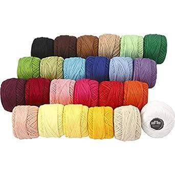 Hilo de algodón mercerizado, colores variados, 24 x 20 g: Amazon ...
