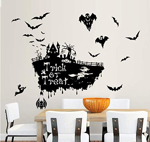 GUOXIN12 Flying Bat Witch Skull Pumhpkin Wall Sticker Happy Halloween Day Trick Or Treat Window Decoration Festival Wall Decals Poster -