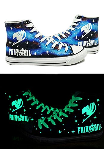 Telacos Fairy Tail Anime Logo Cosplay Shoes Canvas Shoes Hand-Painted Shoes Sneakers Luminous