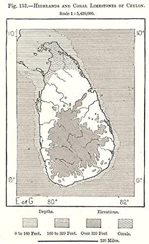 Highlands & Coral Limestones of Ceylon (Sri Lanka). Sri Lanka. Sketch map - 1885 - old map - antique map - vintage map - printed maps of Sri Lanka - Sri Lanka Coral