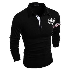 CHENGYANG Men's Printed T-Shirt Casual Slim Fit Long Sleeve Polo Shirt Black 2XL