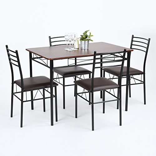 FurnitureR 5 Pieces Dining Set Walnut Wood Top Dining Table with 4 Upholstered Kitchen Dining Chairs