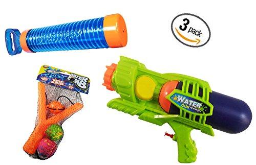3 Pieces Summer Toys - Water Set - 1 Banzai Aqua Shotz Pool Blaster, 1 Water Gun with Jumbo Tank & 1 Water (Toy Pink Pump Action Shotgun)
