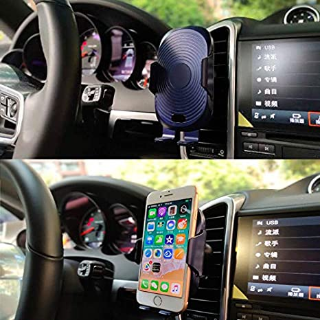 DB Wireless car Charger auto-Clamping Mount,Air Vent Phone Holder,Qi Fast Charging Compatible for Samsung Galaxy S9,S8 S7,Note 8 iPhone X//XS//XS Max//XR//8//8 Plus /& Qi Enabled Devices