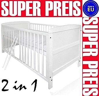 Babybett Kinderbett Juniorbett umbaubar 140x70 Weiß Jungen & Mädchen ...