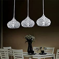 DINGGU™Chrome Finish Modern 3 Lights Crystal Chandelier Pendant Lighting for Dining Room