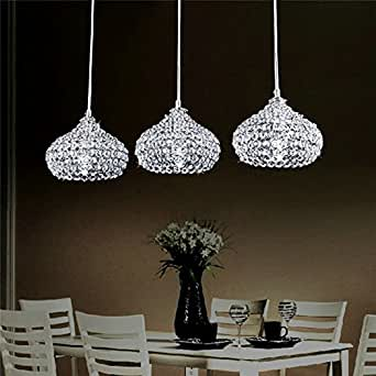 DINGGU™Chrome Finish Modern 3 Lights Crystal Chandelier Pendant Lighting for Dining Room