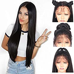 "Andria Hair Lace Front Synthetic Wigs Long Straight Heat Resistant Hair Pre Plucked Wig with Baby Hair Bleached Knots for Women (Black Hair 20"")"