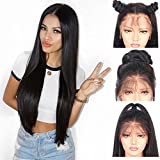 Andria Hair Lace Front Synthetic Wigs Long Straight Heat Resistant Hair Pre Plucked Wig with Baby Hair Bleached Knots for Women ( Black Hair 22' )