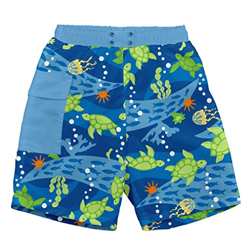 i play... Toddler Boys' Pocket Trunks w/Built-in Reusable Absorbent Swim Diaper, Royal Blue Turtle Journey, 4T by i play.
