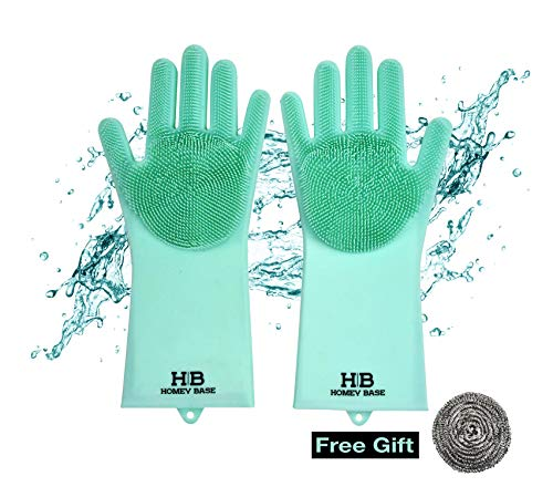 - Magic Silicone Gloves| Dishwashing Cleaning Gloves| Perfect for Kitchen, Dishes, Car, Bathroom, Pet Care | Sponge Scrubber Gloves | 1 Pair Includes Free Stainless-Steel Scouring Pad