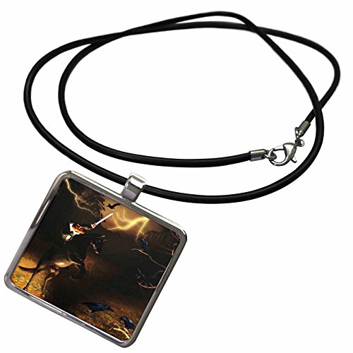 3dRose Renderly Yours Autumn and Halloween - Headless Horseman Rides in Sleepy Hollow - Necklace with Rectangle Pendant (Sleepy Hollow Headless Horseman Kids Costumes)