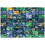 Large Wall Mural Sticker [ Modern,Mosaic Geometric Design with Rainbow Colors Patchwork like Design Artwork,Blue Yellow and Green ] Self-adhesive Vinyl Wallpaper / Removable Modern Decorating Wall Art