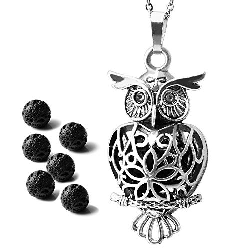 "Maromalife Owl Diffuser Necklace, Essential Oil Pendant Locket Magnetic Closer, 6 Black Lava Stones, 25.5"" Adjustable Chain-Silver ()"