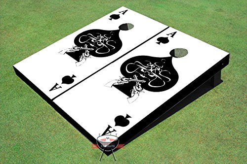Ace of Spades Black and White Theme Corn Hole Boards Cornhole Game Set by All American Tailgate