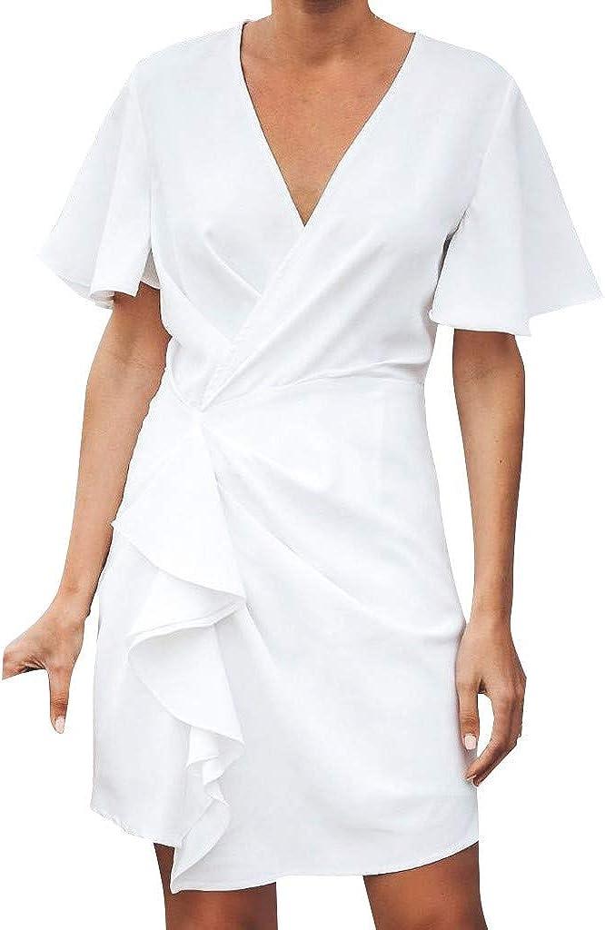 Reooly Cuello de Pico con Volantes, Mini Vestido Suelto Blanco de ...