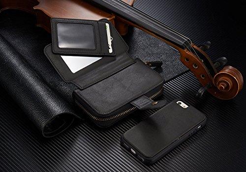 Urvoix per iPhone SE 5S 5, Premium in pelle a portafoglio con zip multifunzionale borsa custodia Flip Magnetica rimovibile, con porta carte, per Appple iPhone 55S SE