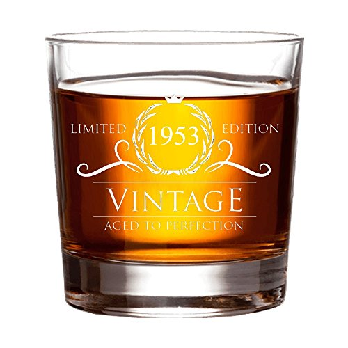 1953 65th Birthday Gifts for Women and Men Whiskey Glass - Funny Vintage Anniversary Gift Ideas for Him, Her, Dad, Mom, Husband or Wife. 11 oz Whisky Bourbon Scotch Glasses. Decorations
