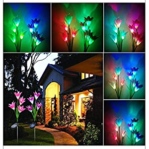 Aviat Artificial Lily Flower Light LED Solar Discoloration Luminous Unique Decor Lawn Light Artificial Lantern [Ship from USA Directly] (Pink,Purple) 57
