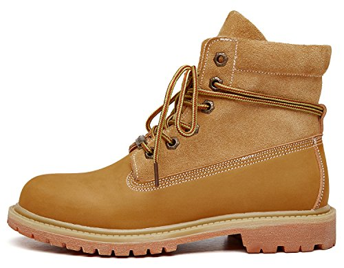 Ubeauty Leather Big Lace Shoes Up Ladies Ankle Womens Yellow Classic Boots Size Combat OrpwCO
