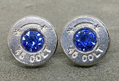 Bullet Casing Stud Earrings Colt 45 Swarovski Sapphire September Birthstone (Training Bullets 9mm compare prices)