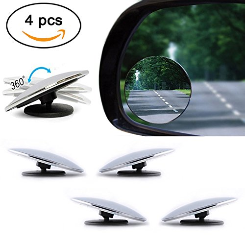 - PERTTY 4 Pieces Mini Blind Spot Mirror Cover 360 Rotating Safety Wide Angle Ampper Blind Spot Mirror 2
