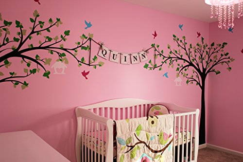 PopDecors - Big tree with love birds (100'' W) - Custom Beautiful Tree Wall Decals for Kids Rooms Teen Girls Boys Wallpaper Murals Sticker Wall Stickers Nursery Decor Nursery Decals by Pop Decors