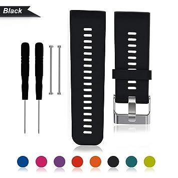 Bemodst® - Correa de repuesto para reloj inteligente Garmin Vivoactive HR con cuchillo y tornillos originales, negro: Amazon.es: Deportes y aire libre
