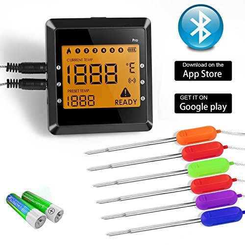 Wireless Meat Thermometer, BUKELERN Digital Bluetooth BBQ Th