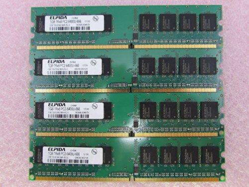 (Elpida 4GB 4 x 1GB PC2-6400U DDR2 800 NonECC Unbuff Memory Kit EBE10UE8ACWA-8G-E)