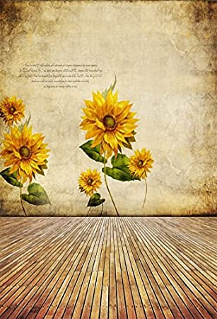 Leowefowa 3x5FT Sunflower Vinyl Backdrop Photography Background Shabby Chic Texture Blurry Grunge Wallpaper Abstract Rustic Vintage