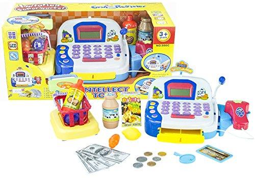 My Cash Register - Supermarktkasse mit Ton, Licht, Scanner und Zubehör - Registrierkasse mit Mikrofon, Scanner, Spielobst, Spielgemüse, abschließbarer Schublade mit Geld, inklusive Einkaufskorb mit Zubehör