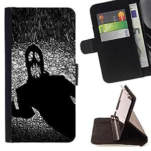 BullDog Case - FOR/Samsung Galaxy S4 Mini i9190 / - / monster ghost Halloween black scary terror ink /- Monedero de cuero de la PU Llevar cubierta de la caja con el ID Credit Card Slots Flip funda de cuer