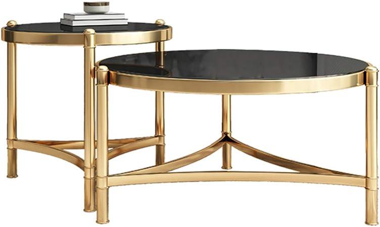 Conjuntos Modernos de mesas de Centro de Nido, Mesa Auxiliar con Mesa de mármol en el Extremo Superior del sofá Mesas Modernas apilables Muebles de Sala de Estar (Negro): Amazon.es: Hogar
