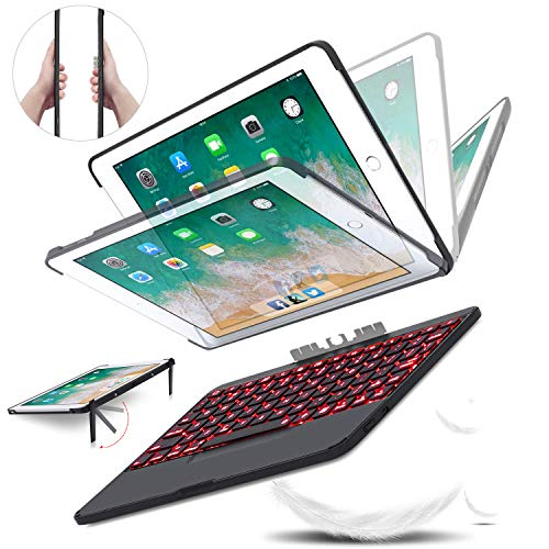 iPad Keyboard Case 9.7 inches Detachable Wireless Bluetooth Keyboard with Backlights - Removable BT4.0 Keyboard Case for Apple iPad 6th 5th Generation Air 2 Pro 9.7 - iPad Case with Stand (Black)