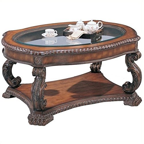 (Garroway Oval Coffee Table with Glass Inlay Top Brown)