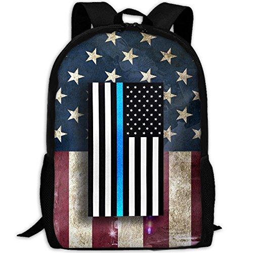American Zebra Line - Fashion Girls Daypack Backpacks For Big Student Retro Thin Blue Line USA Flag