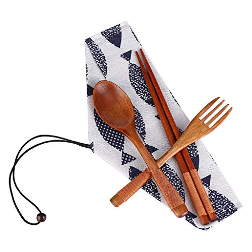 - Exteren 3pcs Japanese Vintage Wooden Chopsticks Spoon Fork Tableware Set New Gift (Brown)